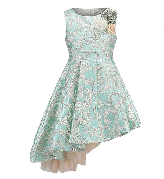 Girly Shop's Light Green High Quality Silver Floral Embroidered Applique Round Neckline Sleeveless Knee Length Little & Big Girl Party High Low Dress