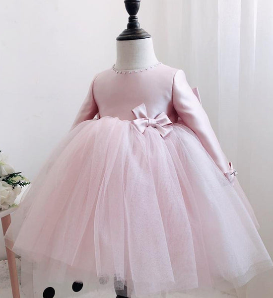 Girly Shop's Bare Pink Beautiful Rhinestone Applique Round Neckline Long Sleeve Tea Ankle Length Large Bow Back Baby Infant Toddler Little Girl Party Bow Dress