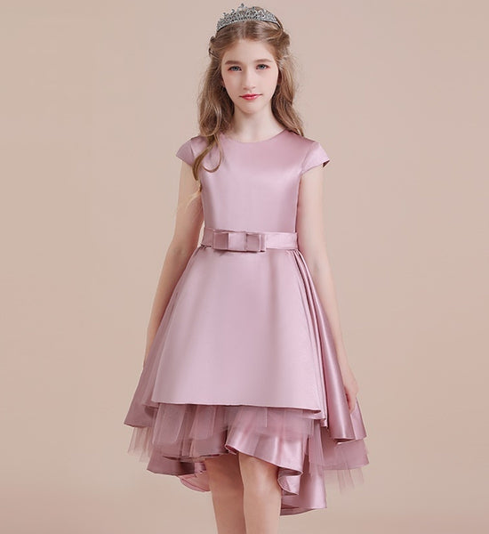 Girly Shop's Pink Crepe Bow front Applique Round Neckline Cap Sleeve Knee Length Tiered Layered Little & Big Girl High Low Party Dress