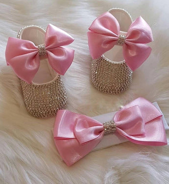 Girly Shop's Pink Custom Made Rhinestones Princess Baby Girl Ballet Bow Knot Shoes With Matching Headband