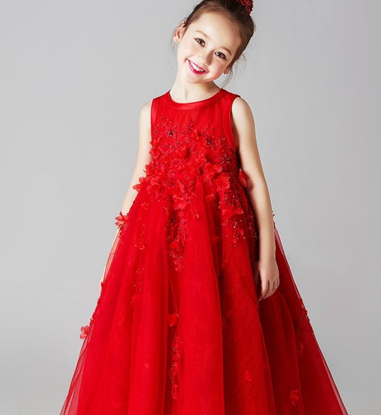 Girly Shop's Red Beautiful Beaded & Floral Applique Sheer Round Neckline Sheer Sleeveless Ankle Length Tiered Layered Infant Toddler Little & Big Tutu Dress