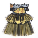 Girly Shop's Yellow & Black Exquisite Flower Embroidery Off Shoulder Short Sleeve Tea Length Tiered Layered Infant Toddler Little & Big Girl Floral Dress