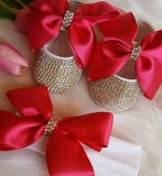 Girly Shop's Red Custom Made Rhinestones Princess Baby Girl Ballet Bow Knot Shoes With Matching Headband