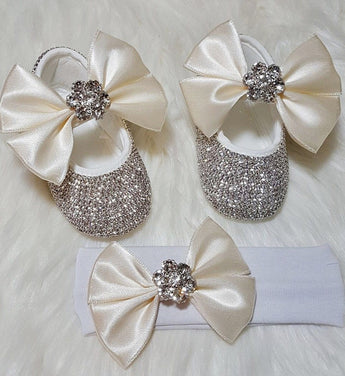 Girly Shop's Ivory Custom Made Rhinestones Princess Baby Girl Ballet Bow Knot Shoes With Matching Headband