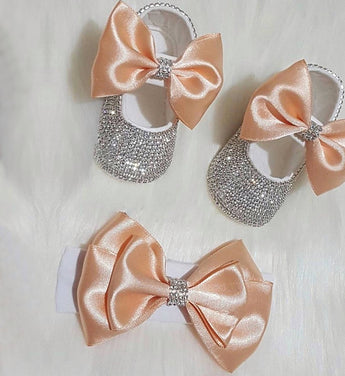 Girly Shop's Orange Custom Made Rhinestones Princess Baby Girl Ballet Bow Knot Shoes With Matching Headband