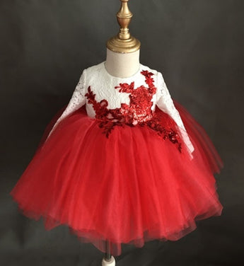 Girly Shop's White & Red Floral Sequin Applique Round Neckline Long Sleeve Tea - Ankle Length Bow Back Baby Infant Toddler Little Girl Party Lace Dress