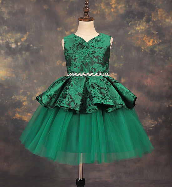 Girly Shop's Green Beaded Applique Sweetheart Neckline Sleeveless Knee Length  Baby Infant Toddler Little & Big Girl Party Tiered Dress