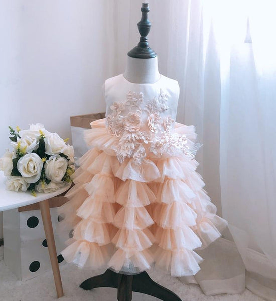 Girly Shop's Champagne Floral Tiered Dress