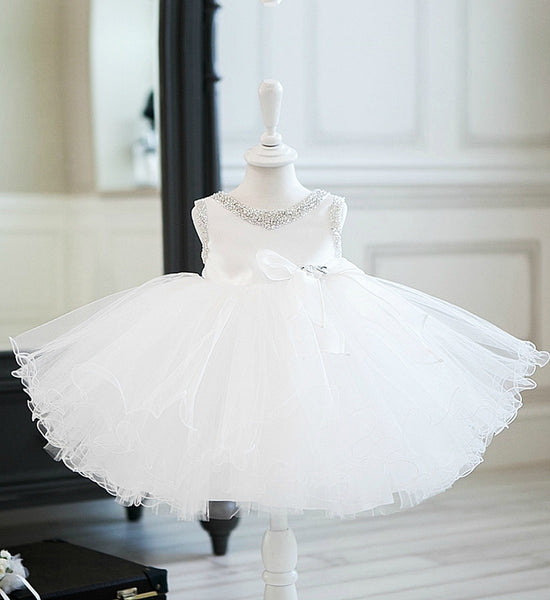 Girly Shop's White Elegant Sweetheart Neckline Adorned With Beaded & Crystal Rhinestones  Sleeveless Knee Length Baby Infant Toddler Little & Big Girl Curly Party Dress