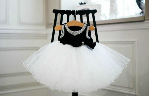 Girly Shop's Black Elegant Sweetheart Neckline Adorned With Beaded & Crystal Rhinestones  Sleeveless Knee Length Baby Infant Toddler Little & Big Girl Curly Party Dress