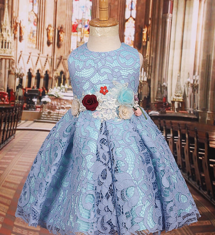 Girly Shop's Blue Floral Applique Round Neckline Sleeveless Knee Length Baby Infant Toddler Little Girl Party Lace Flower Dress