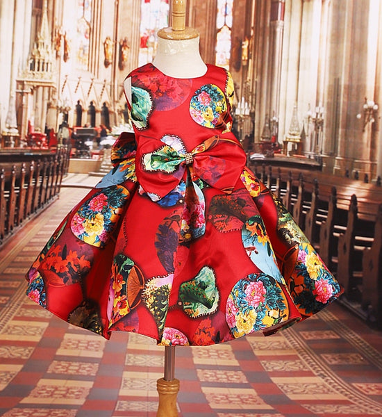 Girly Shop's Red Multi Color Large Bow Applique Round Neckline Sleeveless Knee Length Ruffles Little Girl Party Dress