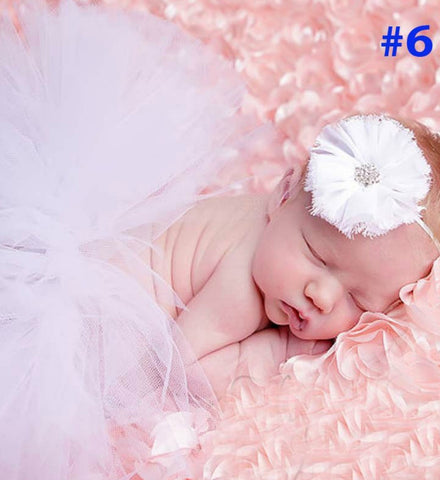 Girly Shop's White Tutu Skirt & Headband I Newborn Photo Prop