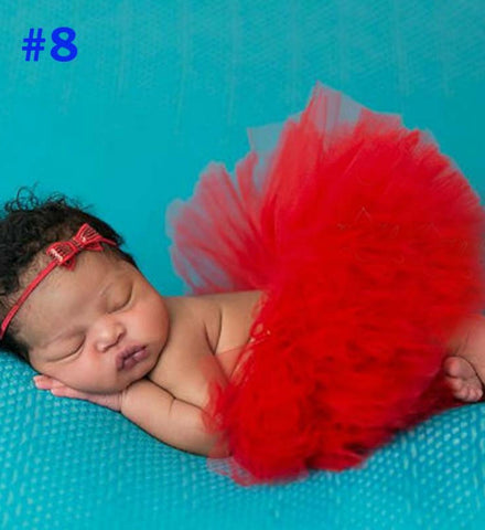 Girly Shop's Red Tutu Skirt & Headband Set I Newborn Photo Prop