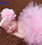 Girly Shop's Light Pink Newborn Photo Prop Tutu Skirt & Headband