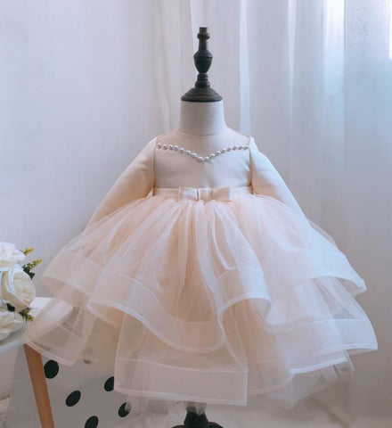Girly Shop's Champagne Beautiful Pearl Applique Sheer Round Neckline Long Sleeve Tea - Knee Length Large Bow Back Tiered Layered Baby Infant Toddler Little Girl Party Dress