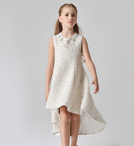Girly Shop's Off White Light Ivory Simple Sequin & Beaded Applique Round Neckline Sleeveless Knee -Tea Length Infant Toddler Little & Big Girl High Low Dress With Matching Coat
