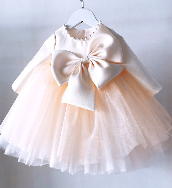 Girly Shop's Champagne Beautiful Large Bow Applique Pearl Round Neckline Long Sleeve Knee Length Baby Infant Toddler Little Girl Party Bow Dress