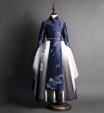 Girly Shop's Royal Blue & White Floral Embroidery & Beaded Applique Mandarin Collar Long Sleeve Floor Length Layered Infant Toddler Little & Big Party Gown