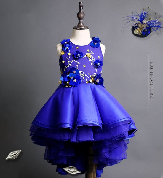 Girly Shop's Royal Blue Floral Paillettes Applique Round Neckline Sleeveless Tiered Layered Infant Toddler Little & Big Girl Flower Sequin High Low Gown