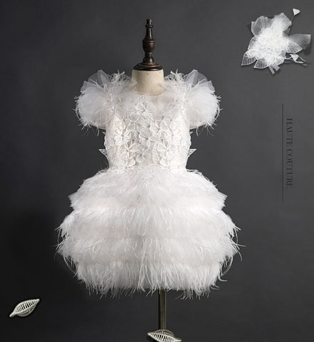 Girly Shop's White Elegant Design Ostrich Feathers & Floral Applique Round Neckline Corsage Pom Pom Cap Sleeves Infant Toddler Little & Big Girl Tiered Layered Flower Dress