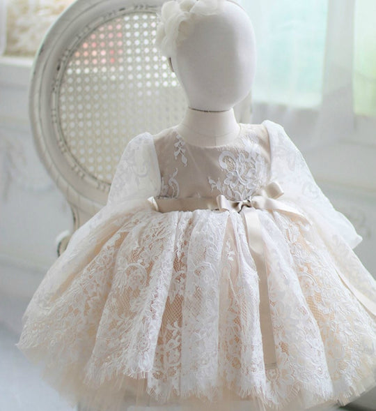 Girly Shop's White & Champagne Tan Beautiful Round Neckline Long Sleeve Knee Length Baby Infant Toddler Little & Big Girl Embroidered Flower Lace Dress