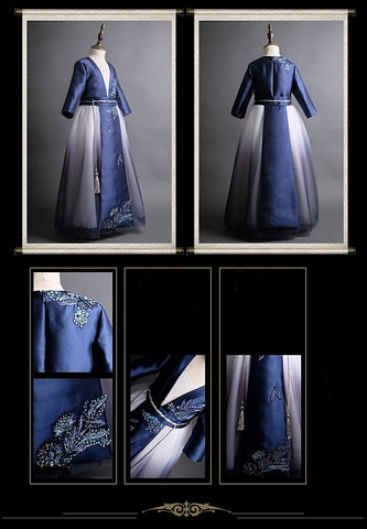 Girly Shop's Royal Blue & White Floral Embroidery Applique Round Neckline Long Sleeve Floor Length Layered Infant Toddler Little & Big Girl Party Gown