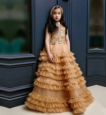 Girly Shop's Gold Brown Elegant Design Embroidery Paillette & Pearl Applique Round Neckline Sleeveless Tiered Layered Infant Toddler Little & Big Girl Ball Gown