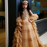 Girly Shop's Golden Brown Elegant Design Embroidery Floral Sequin Applique Round High Neckline Sleeveless Floor Length Infant Toddler Little & Big Girl Layered Flower Gown
