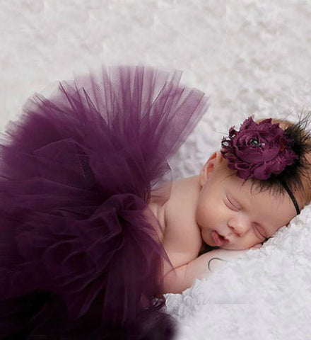 Girly Shop's Dark Purple Tutu Skirt and Flower Headband