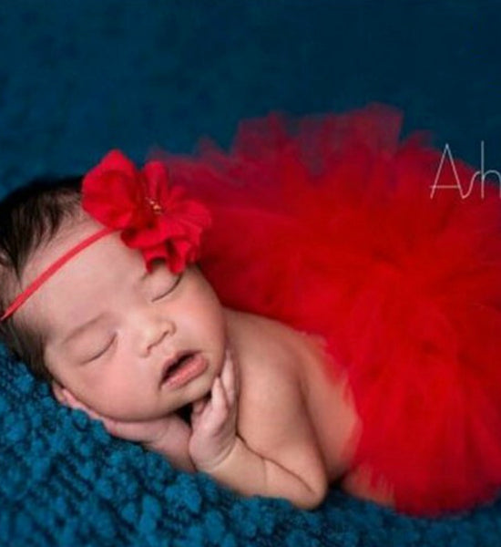 Girly Shop's Red Fluffy Tutu Skirt & Cute Flower Headband