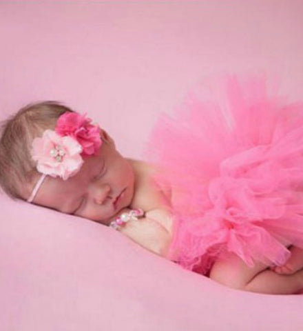 Girly Shop's Pink Tutu Skirt & Flower Headband