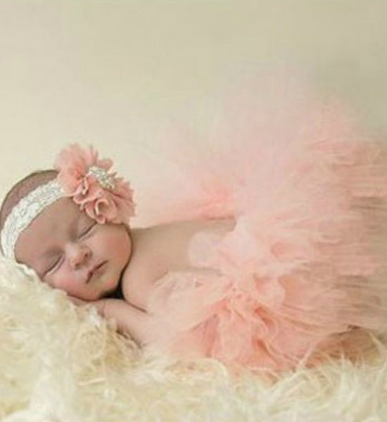 Girly Shop's Peach Tutu Skirt & Flower Headband