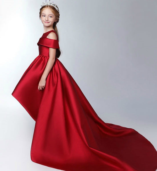 Girly Shop's Dark Red Elegant Folded Off Shoulder Sheer Round Neckline Infant Toddler Little & Big Girl High Low Gown With Long Train