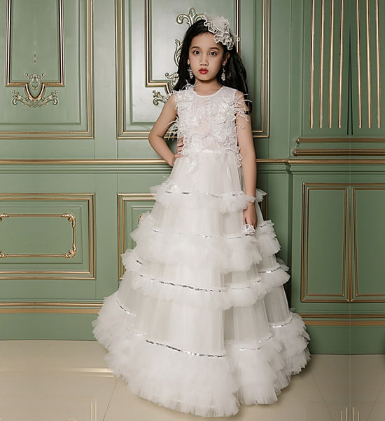 Girly Shop's White Elegant Design Flower & Pearl Applique Round Neckline Sleeveless Tiered Layered Infant Toddler Little & Big Girl Ball Gown
