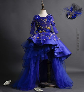 Girly Shop's Royal Blue Floral Sequin Applique Round Neckline Half Sleeve Tiered Layered Infant Toddler Little & Big Girl Flower Sequin High Low Train Gown
