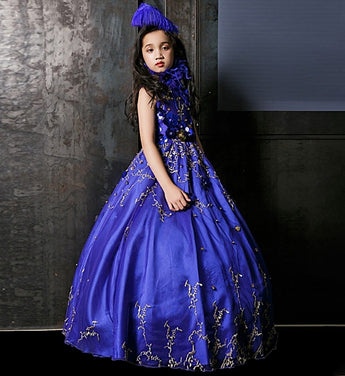 Girly Shop's Royal Blue Floral Sequin Applique Round Neckline Sleeveless Floor Length Infant Toddler Little & Big Girl Sequin Flower Ball Gown