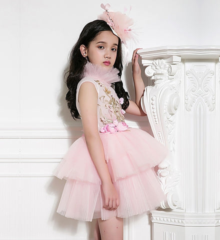 Girly Shop's Pink Floral Applique High Stand Up Collar Cap Sleeve Tiered Layered Infant Toddler Little & Big Girl Flower Gown