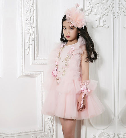 Girly Shop's Pink Floral Applique Round Neckline Sleeveless Tiered Layered Infant Toddler Little & Big Girl Flower Ruffle Gown
