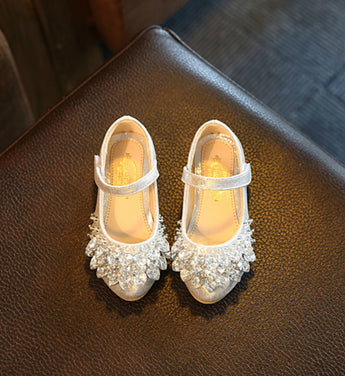 Girly Shop's Sparkle Silver Flower Girl Shoes