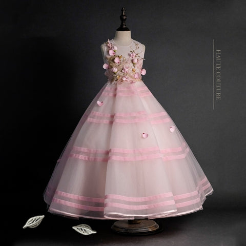 Girly Shop's Pink Elegant Embroidery & Floral Applique Round Neckline Sleeveless Ankle - Floor Length Infant Toddler Little & Big Girl Layered Flower Gown