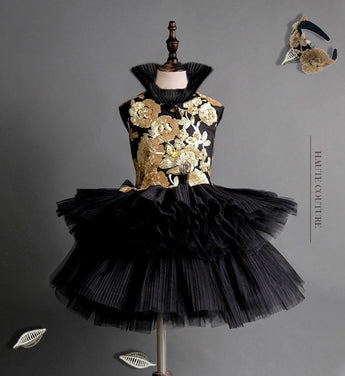 Girly Shop's Black & Gold Elegant Design Floral Sequin Applique High Stand Up Collar Sleeveless Tiered Layered Infant Toddler Little & Big Girl Party Gown
