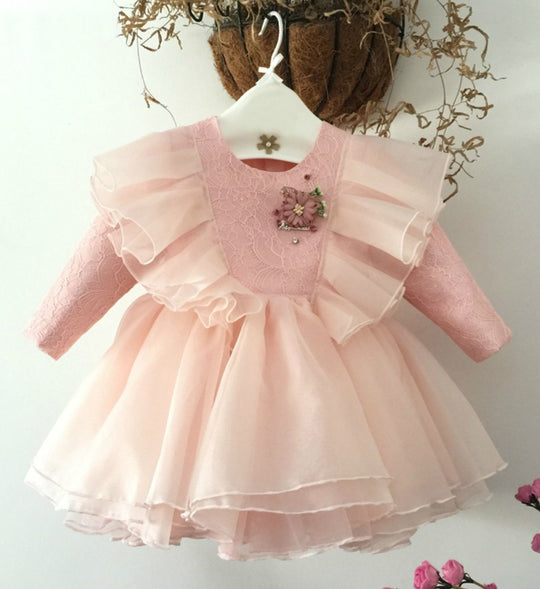 Girly Shop's Pink Cute Round Neckline Long Sleeve Ankle Length Layered Baby Infant Toddler Ruffle Collar Embroidered Flower Party Dress