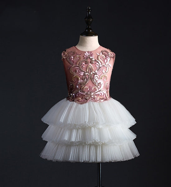 Girly Shop's Old Rose Beautiful Sequin Paillette & Floral Embroidered Applique Round Neckline Sleeveless Tiered Layered Infant Toddler Little & Big Girl Flower Dress
