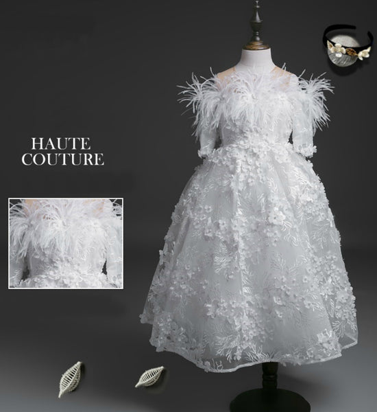 Girly Shop's White Floral Applique Round Neckline Hanging Short Sleeves Floor Length Infant Toddler Little & Big Girl Flower Dress