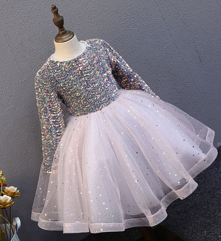Girly Shop's Gray & Pale Pink Sparkling Sequin Applique Round Neckline Long Sleeve Knee - Tea Length Bow Back Baby Infant Toddler Little & Big Girl Curly Dress