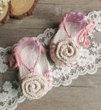 Girly Shop's White & Pink Casual Comfortable Newborn Baby Pre walker Infant Hand Knitted Baby Flower Sandals