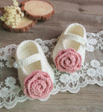 Girly Shop's Off White & Pink Flower Baby Booties