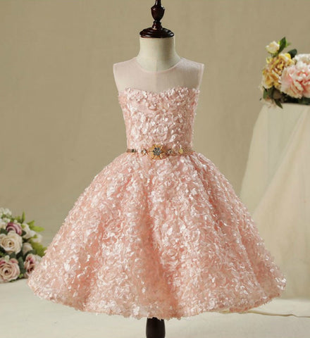 Girly Shop's Pastel Pink Beautiful 3D Floral Applique Sheer Round Neckline High low Train Flower Girl Gown With Gold Belt