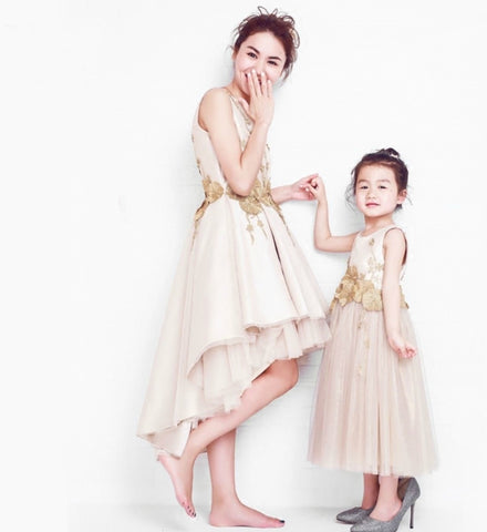 Girly Shop's Gold Beautiful Design 3D Embroidered Flowers Vine Applique Tiered Layered High Low Mother Daughter Matching Dress